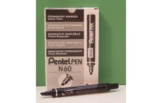 Pentel Permanent Markers. 12 Markers of 1 Colour. Chisel Tip.