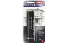Derwent Sketching Pencils Pack of 4 Grades HB, 4B, 2B & 8B
