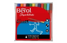 Berol Colourbroad Fibre Tipped Pens.Wallet 12 Assorted Colurs