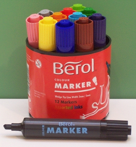 berol watercolour markers 12 assorted markers 3577 watercolour