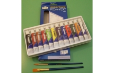 Essential Acrylic Paint. Set of 12 Assorted Colours