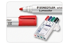 Staedtler Whiteboard Markers. Bullet Tip. Unit of 4 Pens Assorted Colours