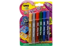 UHU Glitter Glue Pens. 6 assorted colours