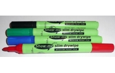 Show-me Boards Dry Wipe Markers, Black Pens Box of 10