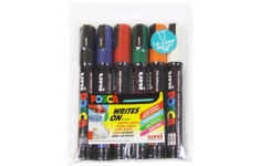 Uni Posca PC5M Medium Markers, Assorted Colours, Pack of 6