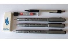 Technical Pen Set. 3 Pens 0.3, 0.5, 0.8mm & 0.5mm Drawing Pencil