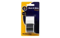 Korbond - Black & White Thread - Pack of 2 x 100m Reels