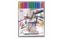 ZIG Art and Graphic Twin Marker 12 Piece Set Bright Colours
