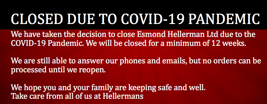 Temporary Closure of Esmond Hellerman Ltd